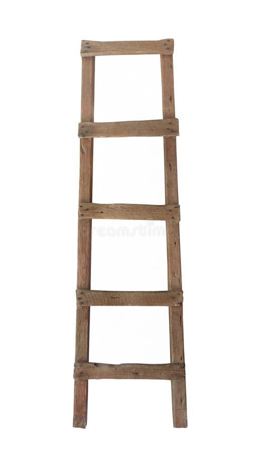 Escada de madeira velha isolada fotografia de stock