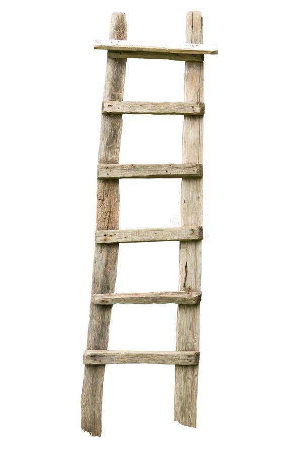 Escada de madeira velha isolada no branco fotografia de stock royalty free