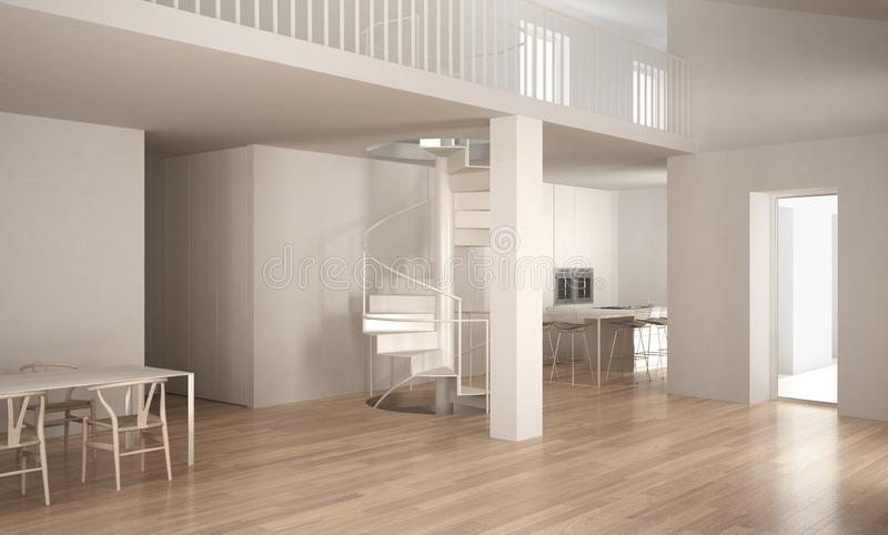 Escada de Minimalistic no espaço vazio moderno com a cozinha no CCB ilustração royalty free