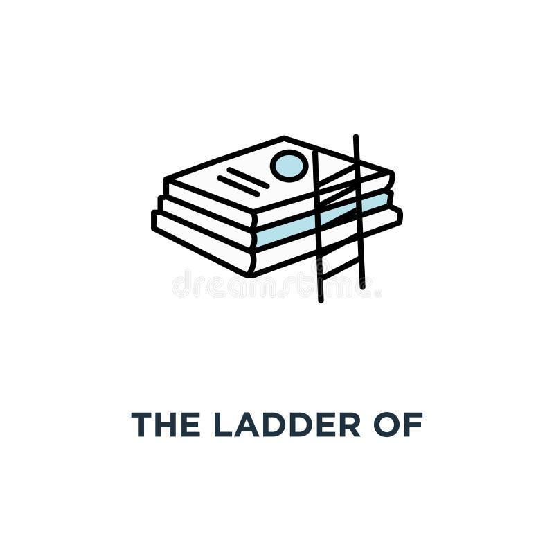 a escada do conhecimento inclina-se no ícone dos livros mais conhecimento mais o horizonte, esboço da educação, estudos progride, ilustração royalty free
