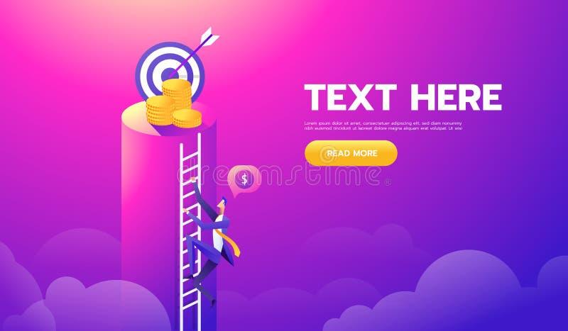 Escada do dólar da escalada do homem de negócios ao objetivo do dinheiro e do alvo para o sucesso Ilustração para o papel de pare ilustração royalty free