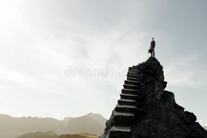 Escada do sucesso no c?u foto de stock royalty free