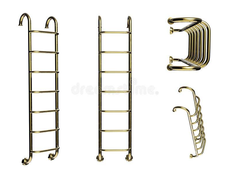 Escada dourada da associação isolada no branco fotografia de stock