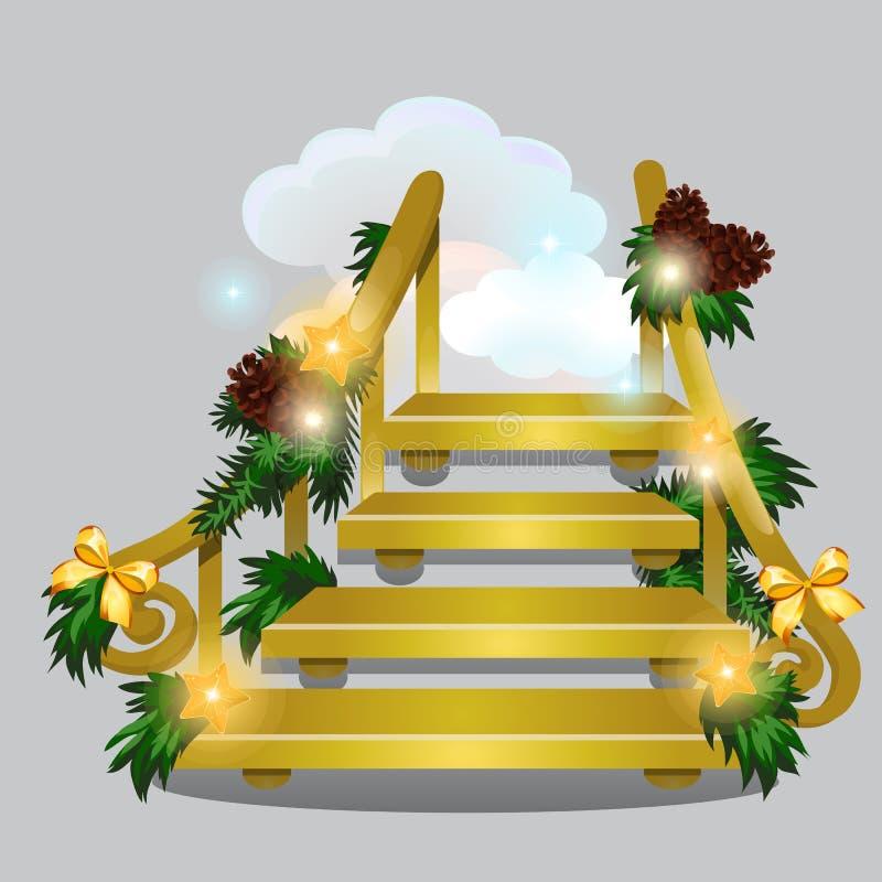 A escada dourada que conduz nas nuvens da neve isoladas no fundo cinzento Esboço para o cartão, cartaz festivo ou ilustração royalty free