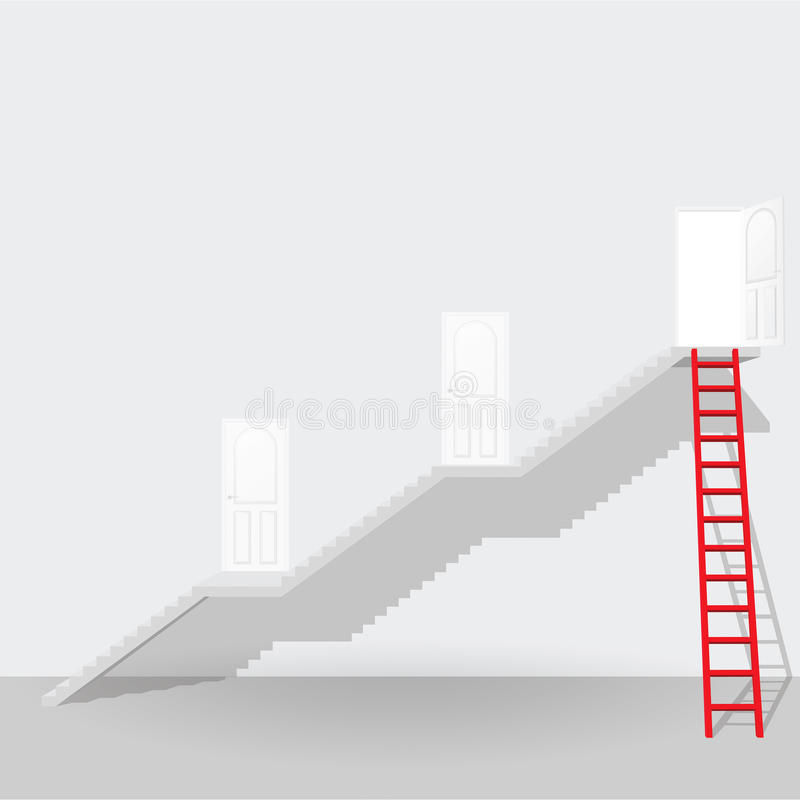 Escada e escada vermelhas até o concep aberto do negócio do sucesso da porta ilustração royalty free