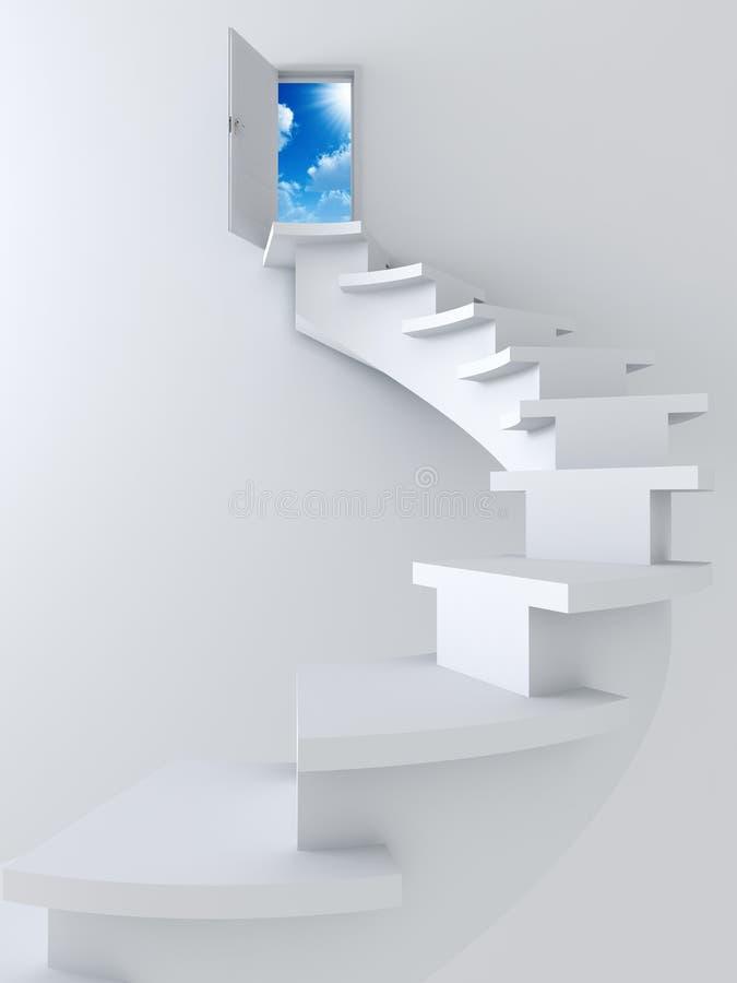 Escada e porta aberta ilustração do vetor
