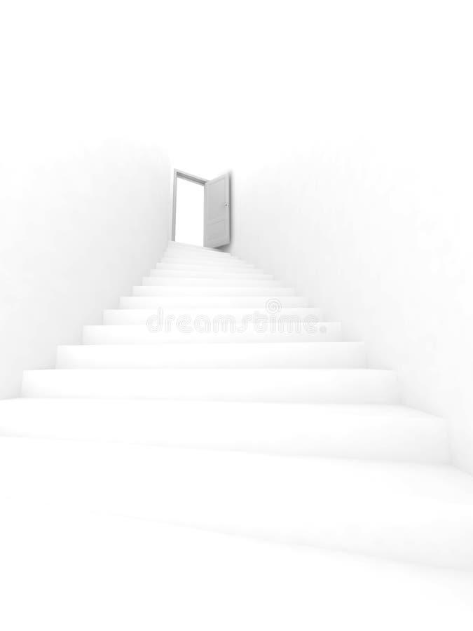 Escada e porta aberta ilustração stock