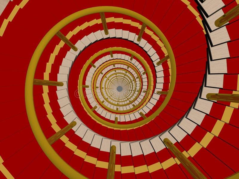 Escada em um tapete que vai para baixo. ilustração royalty free