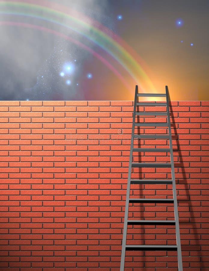 A escada inclina-se na parede ilustração do vetor
