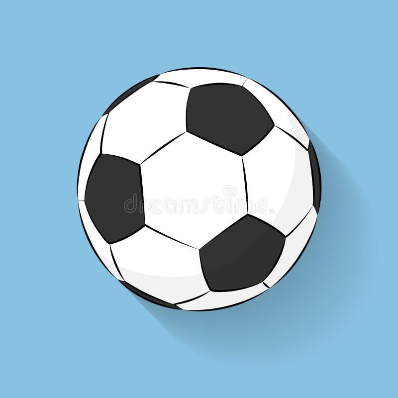 Escada lisa do ícone da bola de futebol do futebol com a sombra longa isolada no fundo azul Ilustração de Logo Vetora Escada dos  ilustração stock
