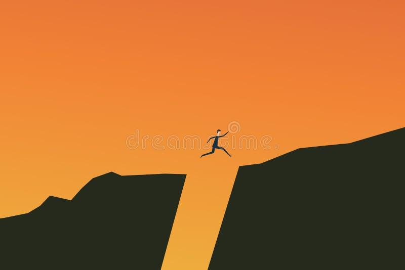 Escada minimalista Finança do negócio do vetor O homem de negócios que salta sobre o conceito do vetor da falha Símbolo do sucess ilustração stock