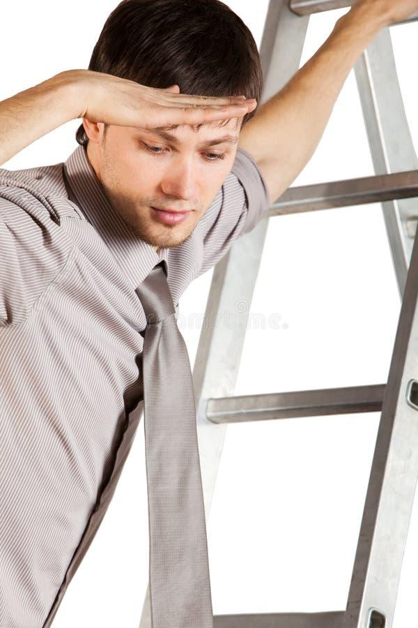Escada nova do climbink n do homem de negócios. Isolado fotos de stock royalty free