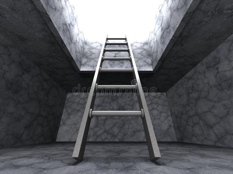 Escada para fora do furo escuro da sala do porão Conceito do sucesso da liberdade ilustração stock