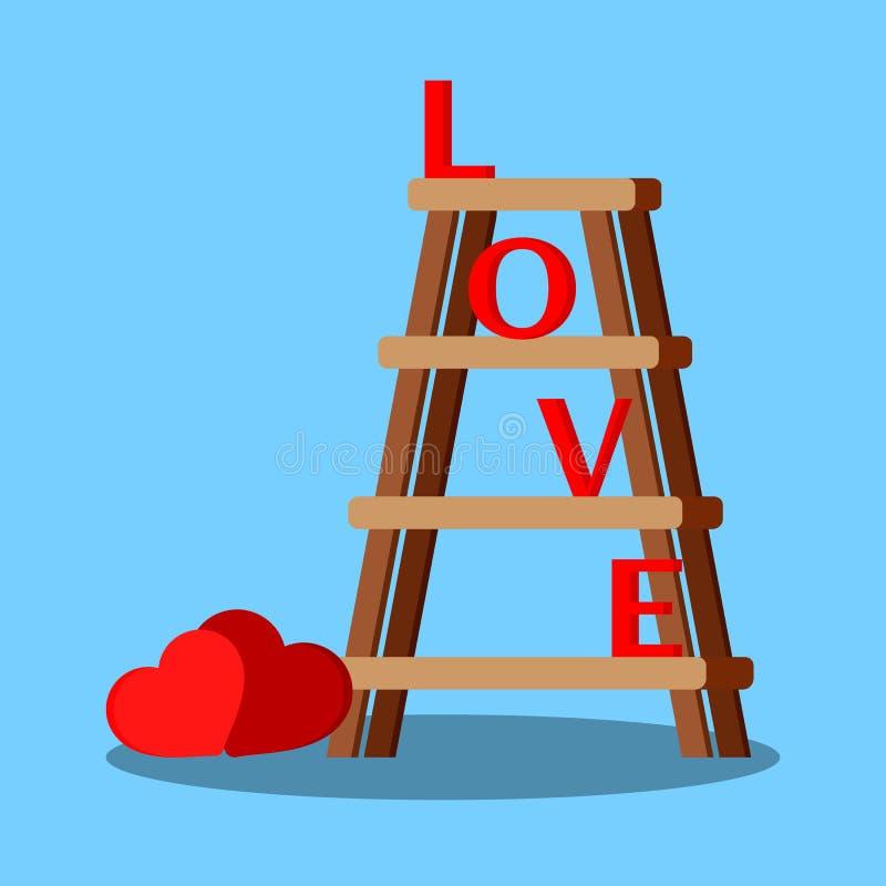 A escada portátil de madeira isolada com letras vermelhas ama e corações ilustração do vetor