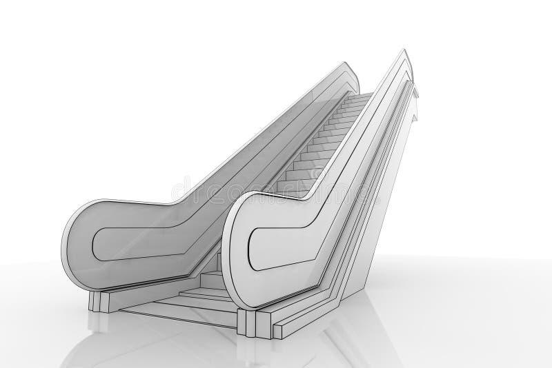 escada rolante 3d ilustração do vetor