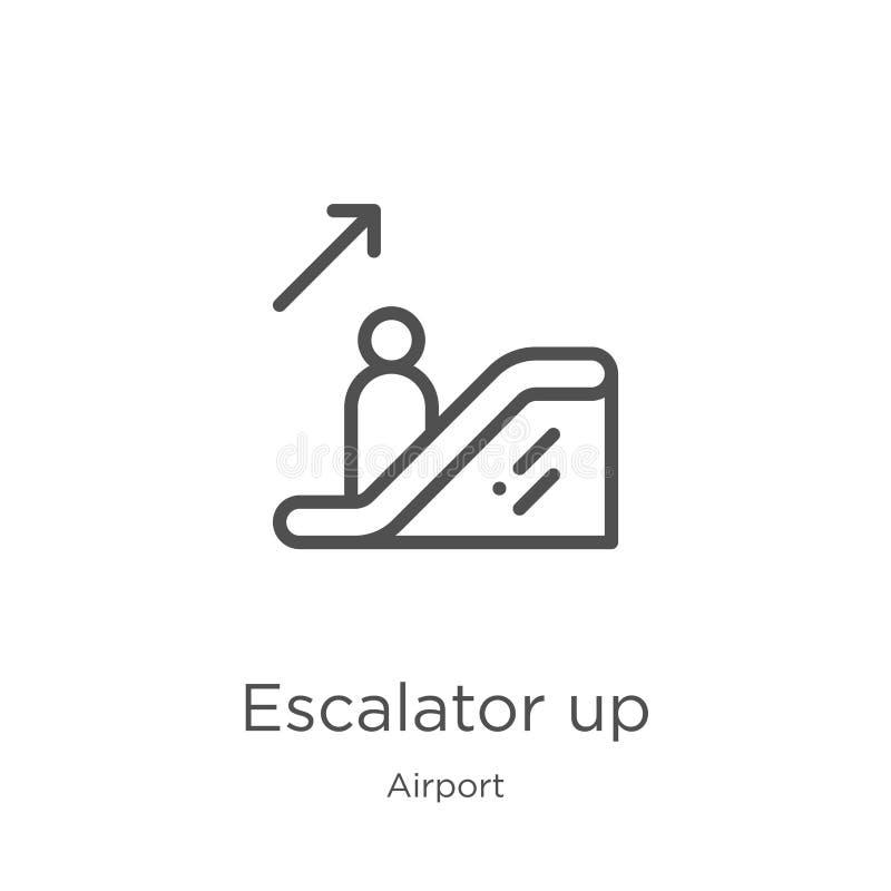 escada rolante acima do vetor do ícone da coleção do aeroporto Linha fina escada rolante acima da ilustra??o do vetor do ?cone do ilustração stock
