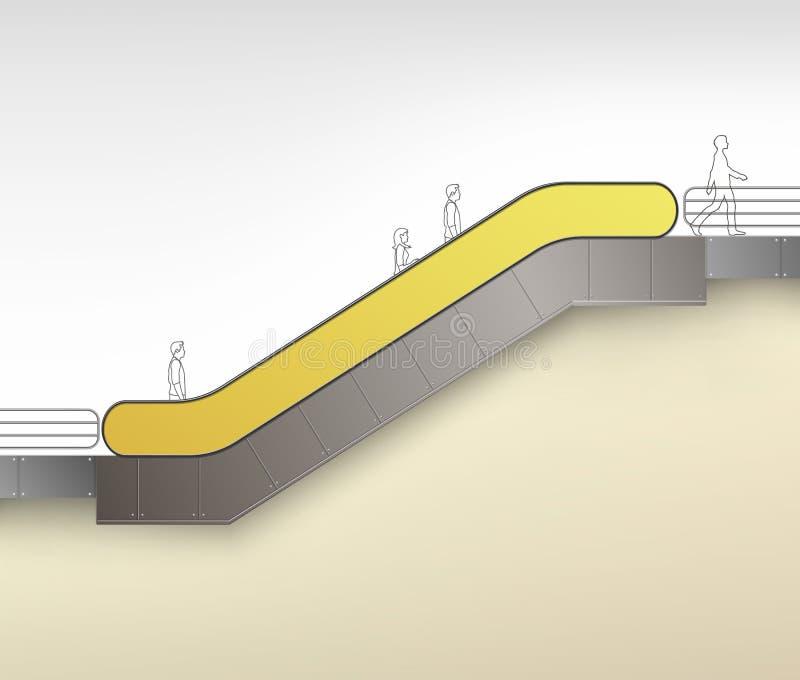 Escada rolante amarela com lugar para anunciar ilustração stock