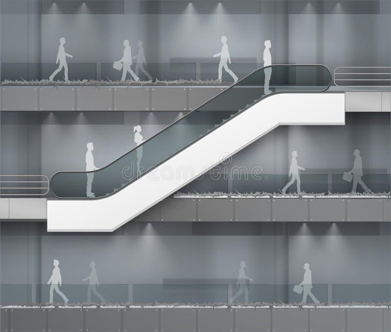 Escada rolante com lugar para anunciar no centro ilustração royalty free