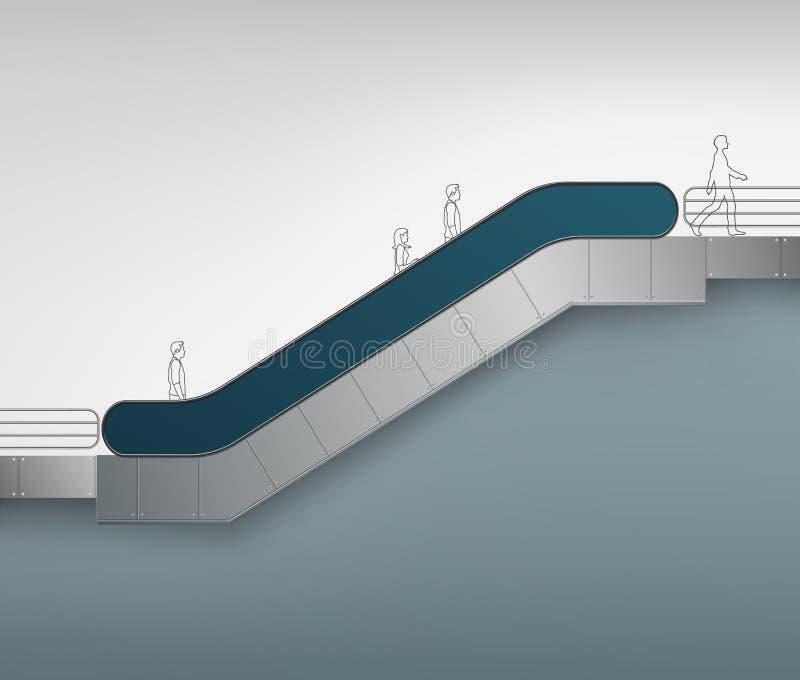 Escada rolante com lugar para anunciar a vista lateral ilustração royalty free