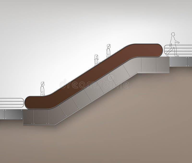 Escada rolante moderna de Brown com lugar para anunciar ilustração royalty free