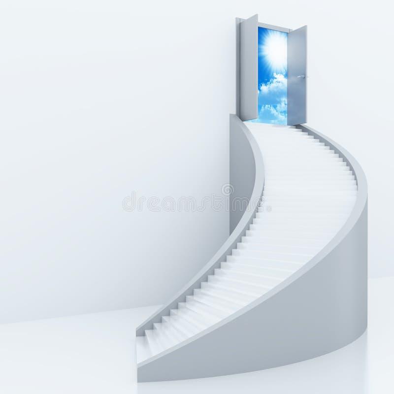 Escada torcida branca e porta aberta ilustração stock