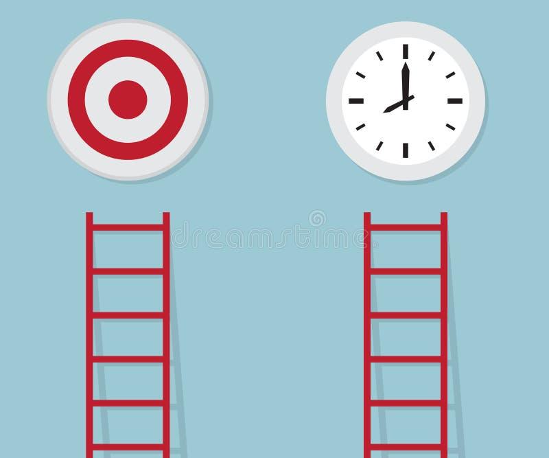 Escada vermelha a visar e tempo, conceito do negócio ilustração do vetor