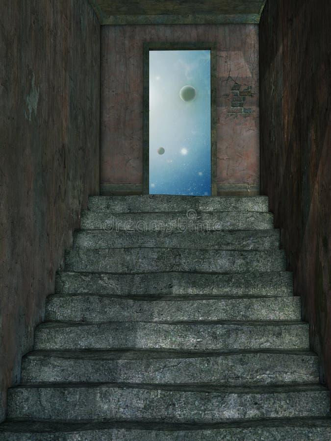 Escadaria ao céu ilustração stock
