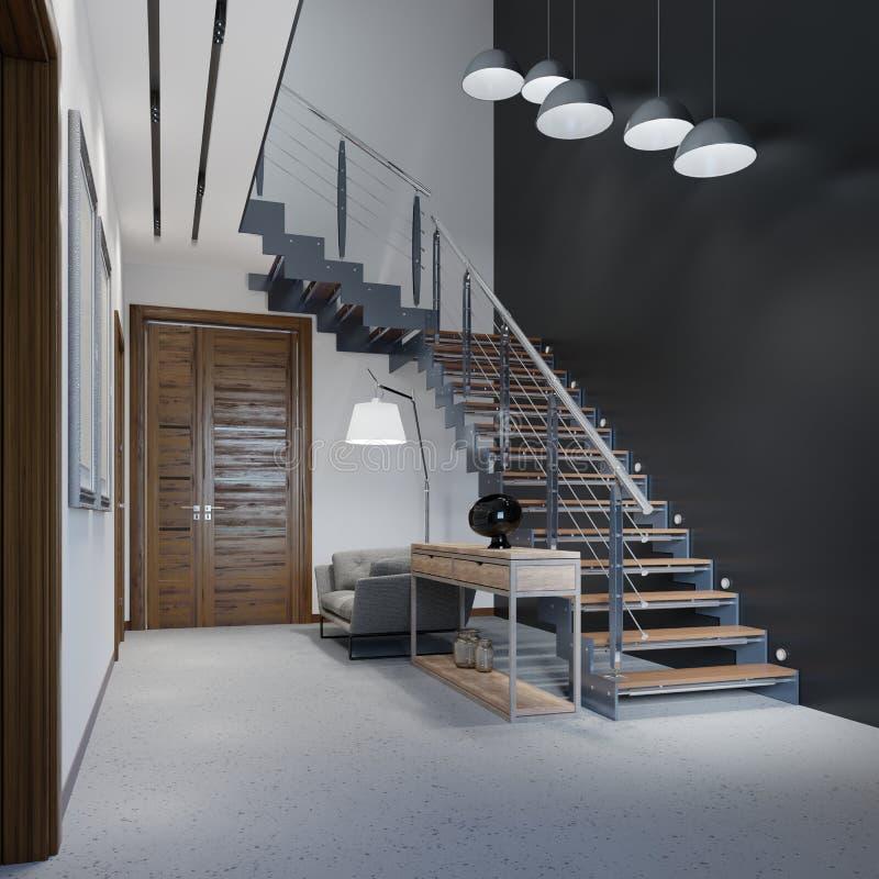 Escadaria ao segundo andar em um apartamento moderno com trilhos do metal e em etapas de madeira com as grandes lâmpadas de pende ilustração royalty free