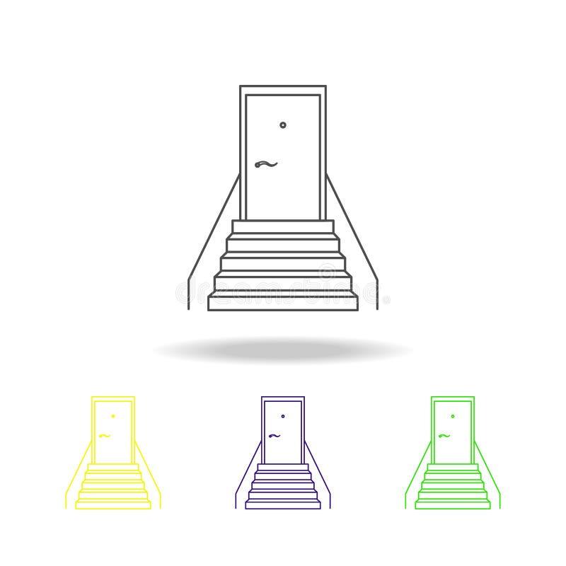 escadaria com iconss coloridos coloridos de uma porta As escadas em nossos ícones coloridos da vida podem ser usadas para a Web,  ilustração do vetor