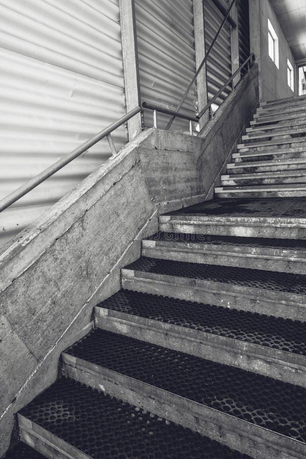 Escadaria concreta do armazém industrial, preto e branco imagem de stock