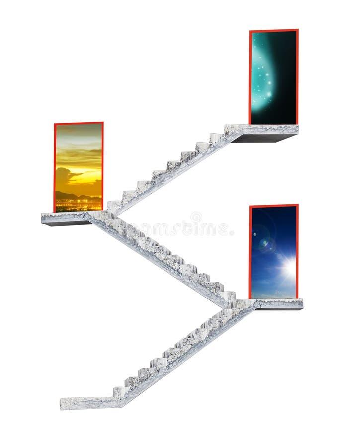Escadaria concreta que conduz à porta de saída que abre ao céu azul imagem de stock
