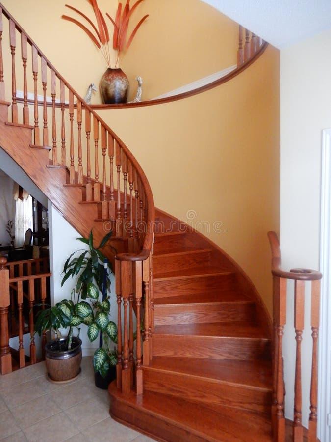 escadaria curvada elegante do carvalho da Em-casa fotografia de stock