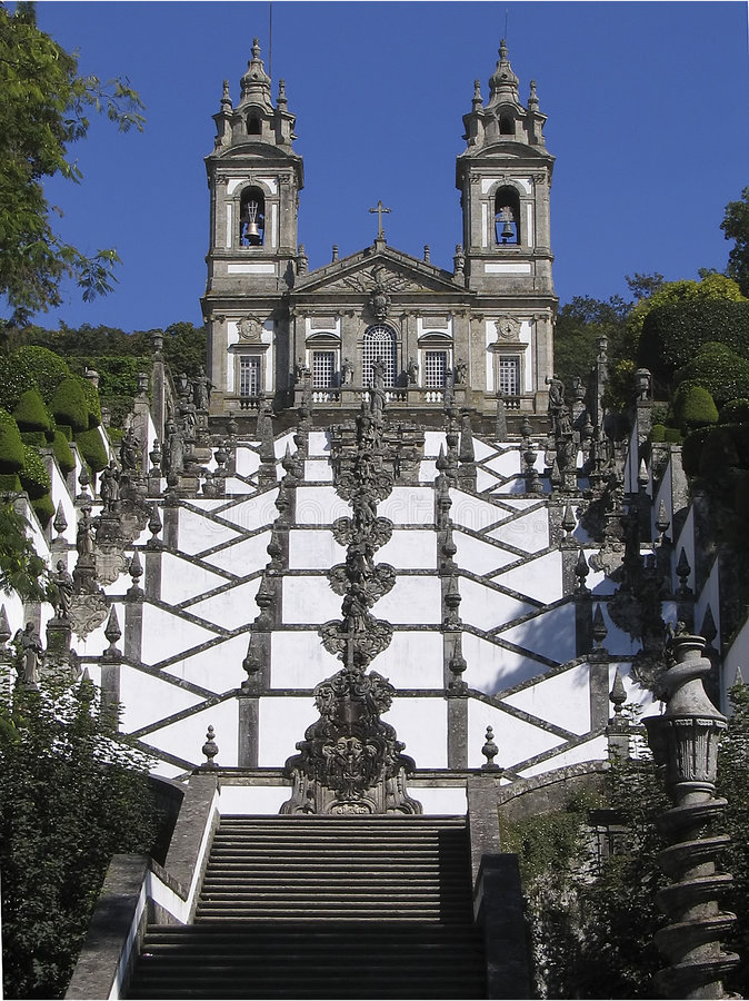 Escadaria da Igreja de Bom Jesus de Braga - Portugal stock photography