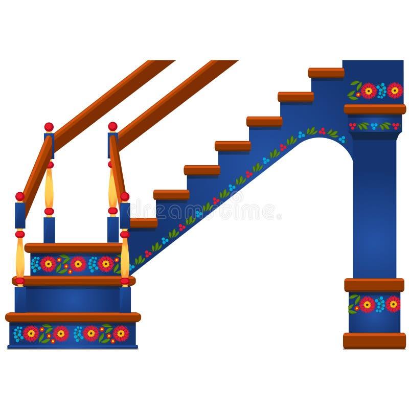 Escadaria de madeira com o ornamento no estilo eslavo isolado no fundo branco Ilustração do close-up dos desenhos animados do vet ilustração royalty free
