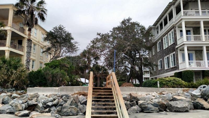 Escadaria do acesso da praia fotos de stock