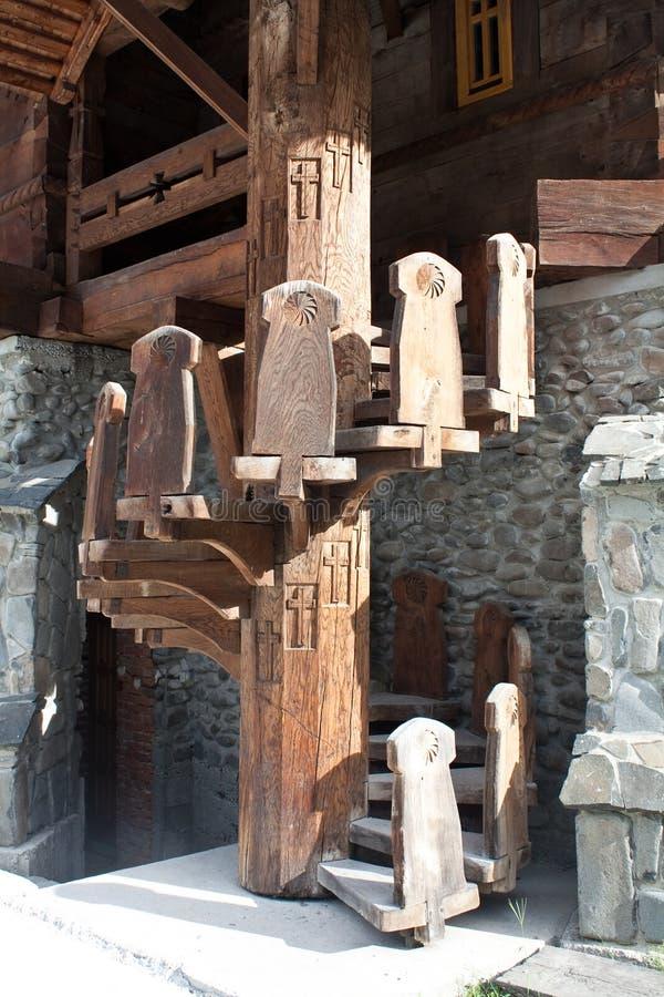 Escadaria espiral de madeira foto de stock royalty free
