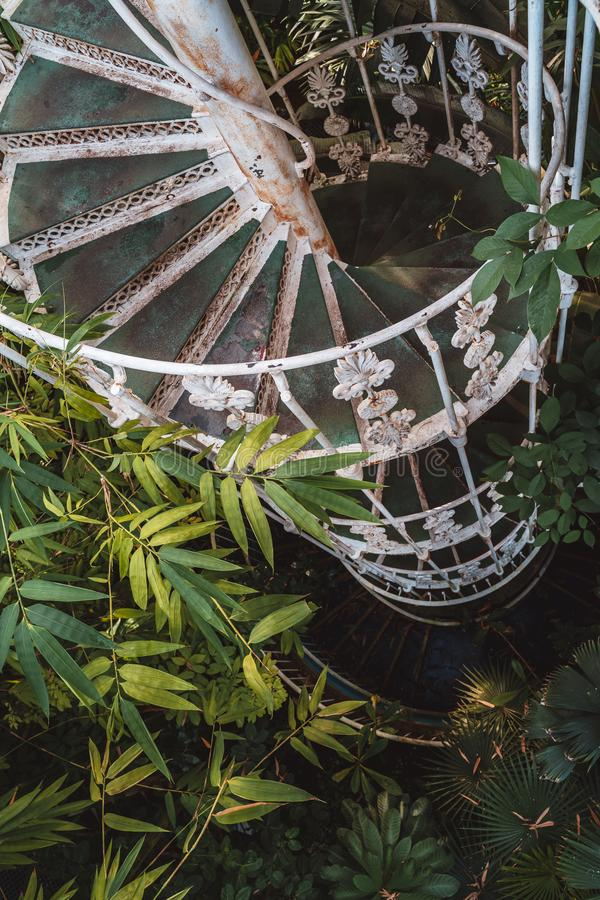 Escadaria espiral na casa de palma, jardins de Kew no inverno/outono foto de stock