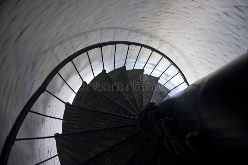 Escadaria espiral no farol imagem de stock