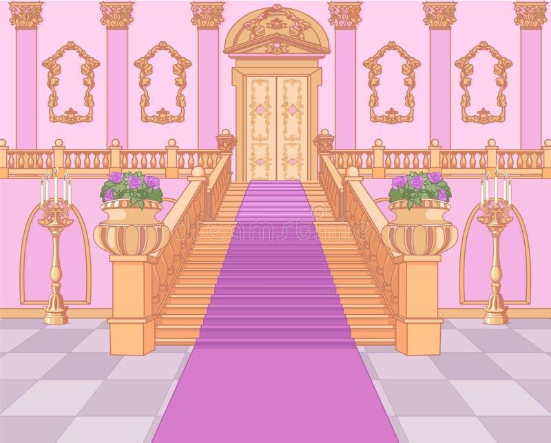 Escadaria luxuosa no palácio mágico ilustração do vetor