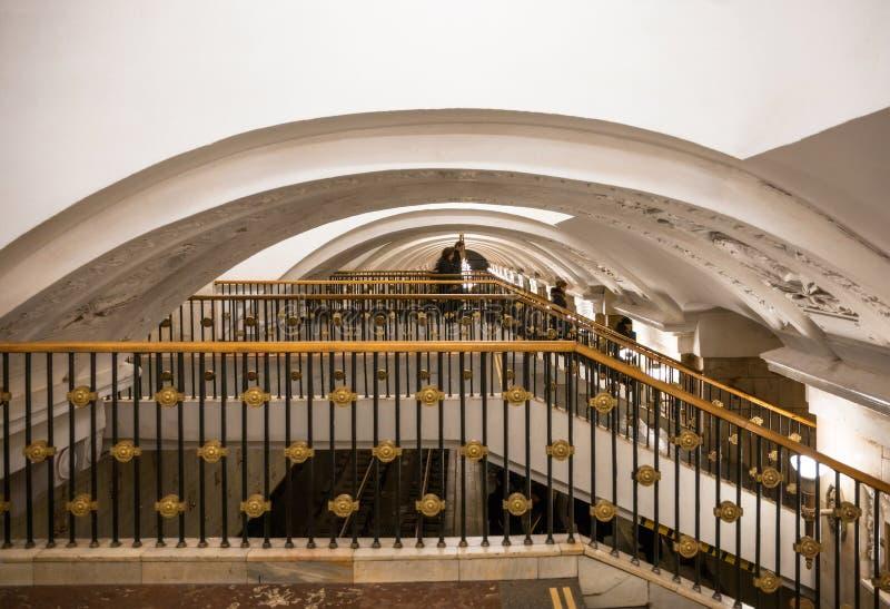 Escadaria no metro de Moscou foto de stock royalty free