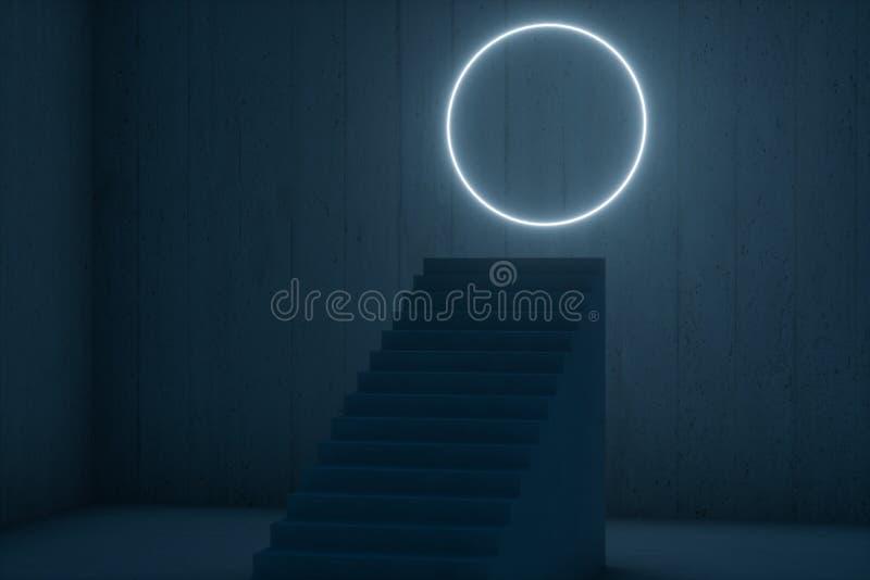 A escadaria no porão escuro com linhas de incandescência, rendição 3d ilustração royalty free