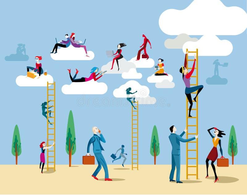 Escadaria a nublar-se ilustração royalty free