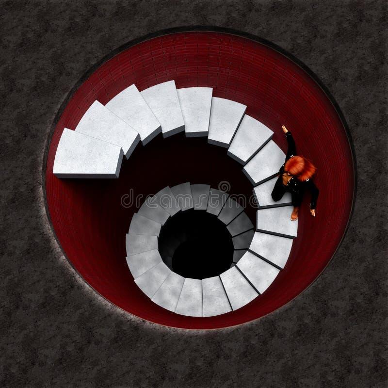 Escadaria perigosa profunda foto de stock