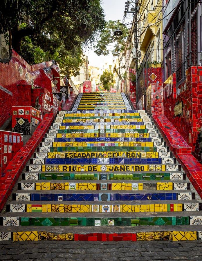 Escadaria Selaron -楼梯在Lapa区在里约热内卢, 库存图片