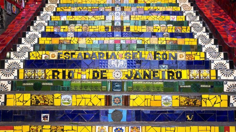 Escadaria Selaron, or Lapa Steps, in Rio de Janeiro, Brazil. Detail of Selaron Steps, or Escadaria Selaron, in the Lapa neighborhood of Rio de Janeiro, Brazil royalty free stock photography