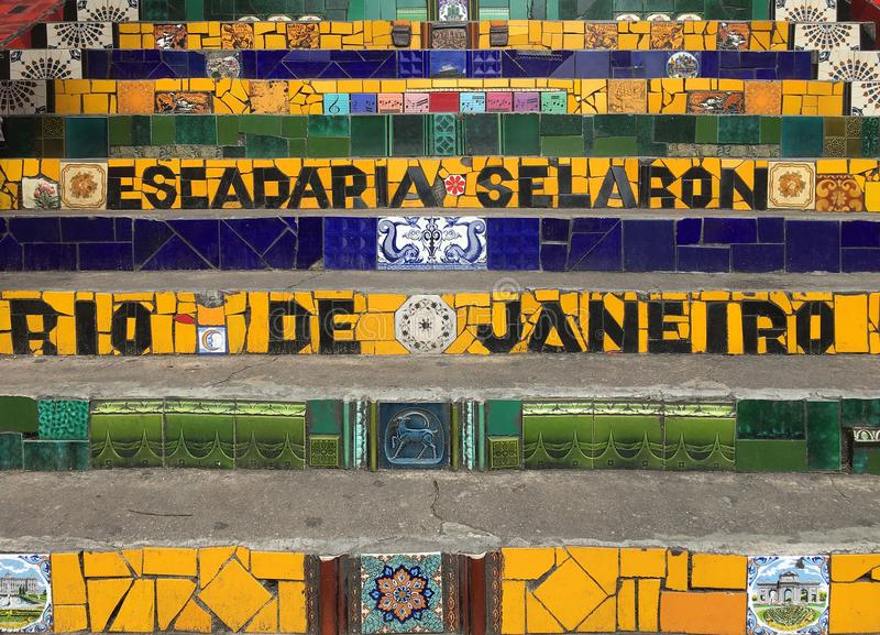 Escadaria Selaron, Rio De Janeiro Tiles stock image