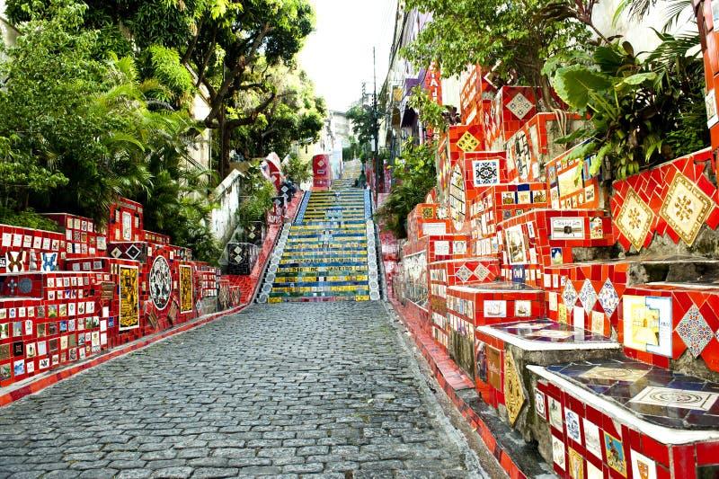 Stairway Selaron, Rio de Janeiro. Escadaria Selaron (stairway Selaron) in Santa Teresa, Rio de Janeiro stock images