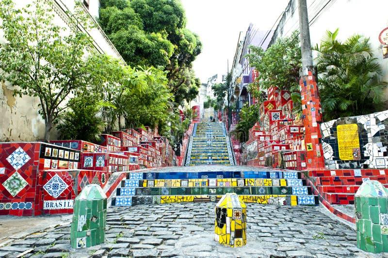 Stairway Selaron, Rio de Janeiro. The Escadaria Selaron (stairway Selaron) Santa Teresa in Rio de Janeiro stock photo