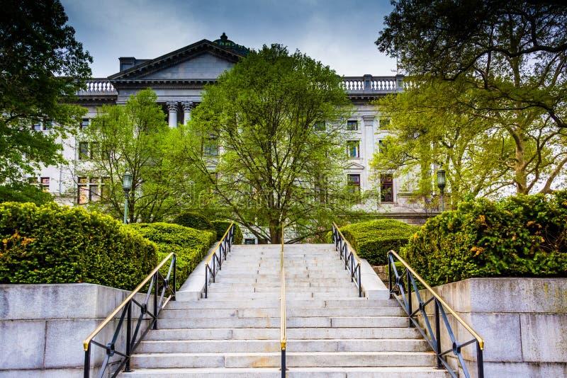 Escadas ao Capitólio do estado em Harrisburg, Pensilvânia foto de stock royalty free