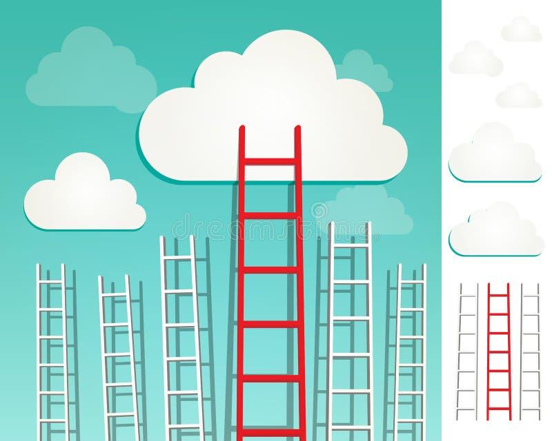 Escadas ao grupo do conceito das nuvens ilustração stock